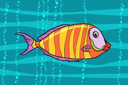 Cichlid aquariumvissen. Popart retro vectorillustratie.