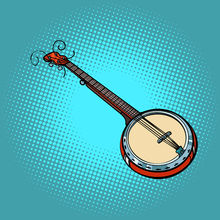 Banjo musical instrument. Pop art retro vector illustration comic cartoon hand drawing.