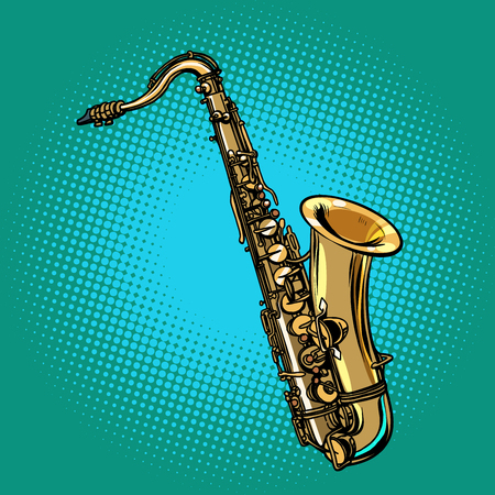 Saxophone musical instrument. Pop art retro vector illustration. Comic cartoon hand drawing.