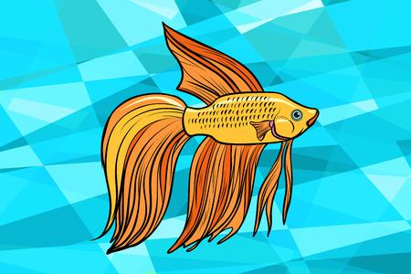 Cockerel aquarium fish. Pop art retro vector illustration
