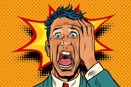 pop art panic face man funny. Pop art retro vector illustration