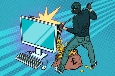 Online hacker steals pound money from computer. Pop art retro vector illustration