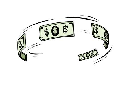 The circulation of money, dollars cash. Pop art retro vector illustration
