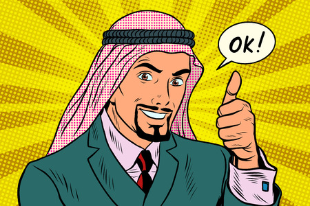 Thumbs up Okey, the Arab businessman. Pop art retro vector illustration