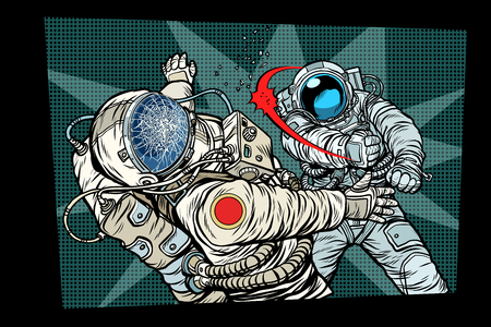 two cosmonauts fight the space war. Pop art retro comic book vector cartoon vector illustration hand drawing