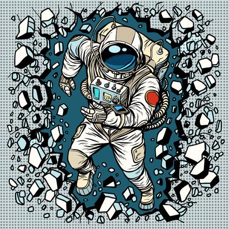L'astronaute brise le mur, le leadership et la détermination. Bande dessinée rétro pop art vector bande dessinée vector illustration main dessin Vecteurs