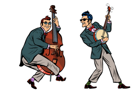 rockabilly jazz musicians, double bass and banjo. isolated on white background. Pop art retro vector illustration comic cartoon hand drawing Vectores
