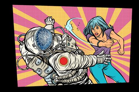 woman vs astronaut, fight. Pop art retro comic book vector cartoon vector illustration hand drawing Illustration