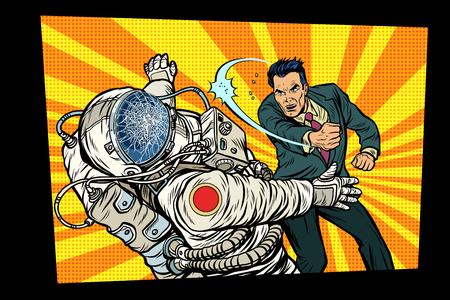 man vs astronaut, fight. Pop art retro comic book vector cartoon vector illustration hand drawing Çizim