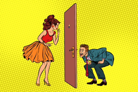 man and woman looking through a door, peephole and keyhole. Voyeurism and privacy. Pop art retro vector illustration Çizim