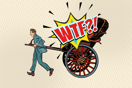 business rickshaw taxi wtf. Pop art retro vector illustration Vettoriali