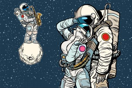 宇宙飛行士が踊っている。ロマンチックなデート、男は女性を愛しています。ポップアートレトロコミックブックベクトル漫画ベクトルイラスト手