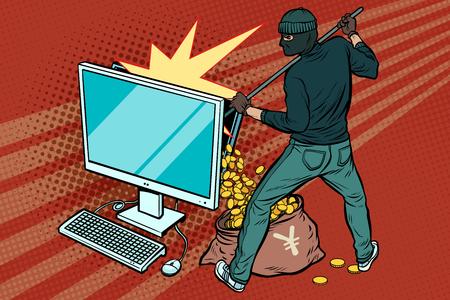 온라인 해커가 컴퓨터에서 엔 돈을 훔칩니다. 팝 아트 복고풍 벡터 일러스트 레이션