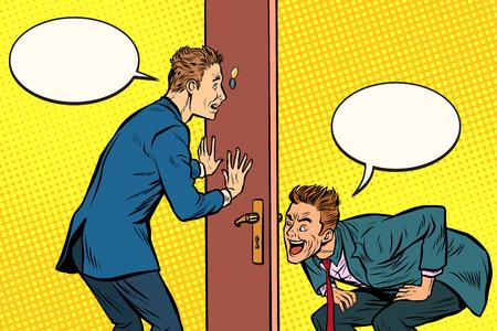 Two men spy each other through the door. Pop art retro comic book vector illustration Illustration