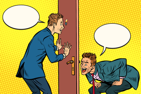 Two men spy each other through the door. Pop art retro comic book vector illustration Çizim