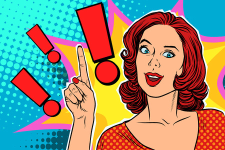 Exclamation point and happy pop art woman. Pop art retro vector illustration