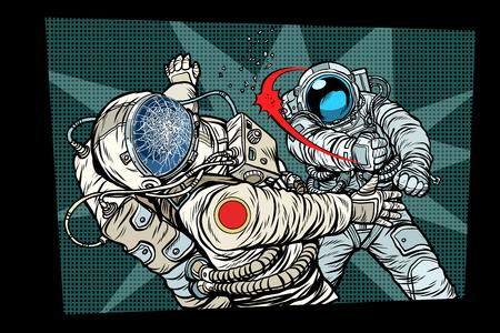 two cosmonauts fight the space war. Pop art retro comic book vector cartoon vector illustration hand drawing
