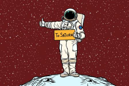 De trekhaak van de astronaut rijdt op Saturnus Stockfoto