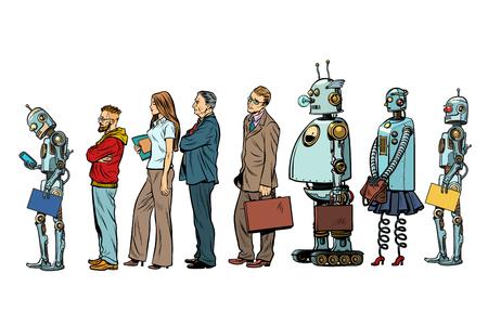 O conjunto de todas as pessoas. Empresário de hipster de homem mulher robô. Ilustração em vetor retrô pop art