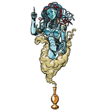 Isolated on white background. Female robot the Genie of the lamp Illustration