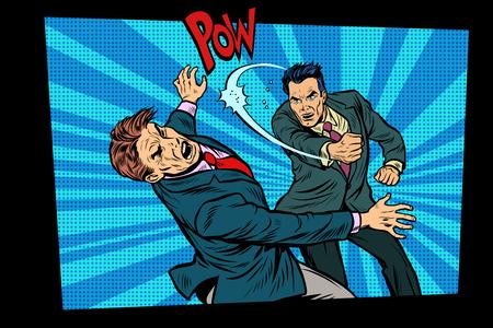 beating two fighting men, strong punch. Pop art retro vector illustration hand drawn comic cartoon