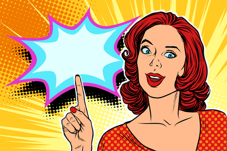 Pop-Art-Frau , die Finger zeigt , Retro- Vektorillustration zeigt Standard-Bild - 94672059