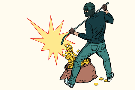thief with bag of money. Pop art retro vector illustration