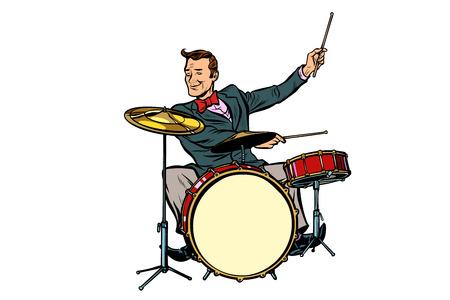 retro drummer behind the kit