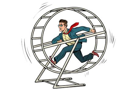Hombre de negocios en una rueda de ardilla Foto de archivo - 95041592