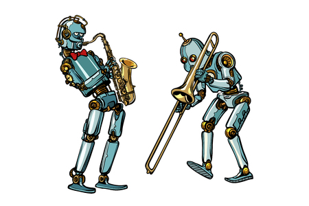 Brass band musicians robots, saxophone and trombone