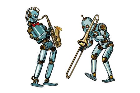 Musicisti di banda musicale robot, sassofono e trombone Vettoriali
