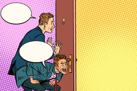 Business spy through the door