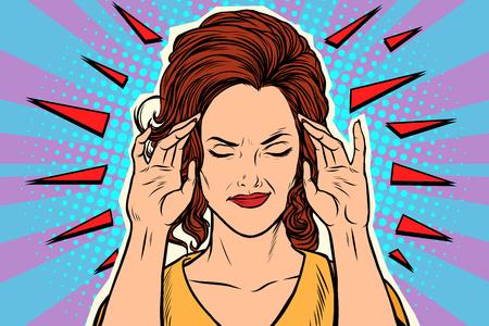 Mal di testa della donna, sintomo medico della malattia Archivio Fotografico - 94857340