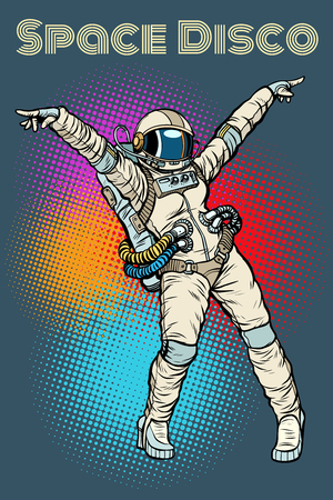 Female astronaut dancing disco