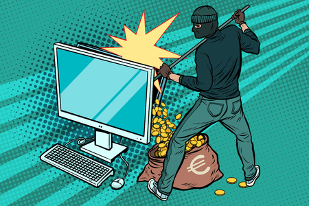 Online hacker steals Euro money from computer Stock Illustratie