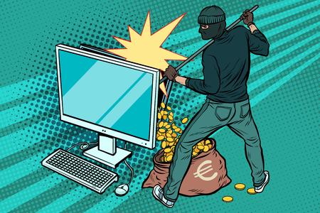 Online hacker steals Euro money from computer Illustration