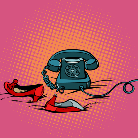 Retro phone and women red shoes