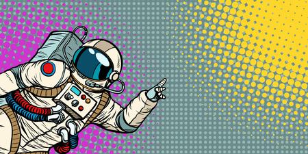 mocap male astronaut shows hand on copy space