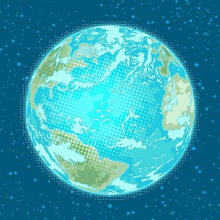 地球の惑星。天候、自然と環境。ポップアートレトロ漫画漫画ベクトル漫画手描きイラスト  イラスト・ベクター素材
