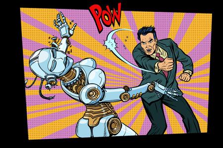 retro male beats up female robot. Domestic violence, sex doll. Pop art retro comic book vector cartoon hand drawn illustration