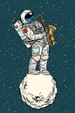 astronaut saxophonist plays jazz in space, saxophone musical instrument. Pop art retro vector illustration hand drawn comic cartoon