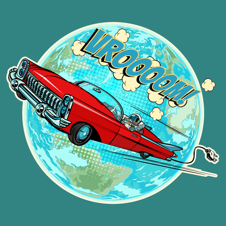 Electric vehicle with an astronaut flying in space over the planet Earth. Pop art retro comic book vector cartoon hand drawn illustration
