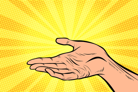 holding in hand, presentation gesture. Pop art retro comic book vector cartoon hand drawn illustration 일러스트
