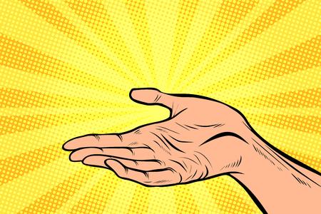 in der hand halten, präsentation geste. Gezeichnete Illustration der Retro- Comic-Buch-Vektorkarikatur der Pop-Art Hand