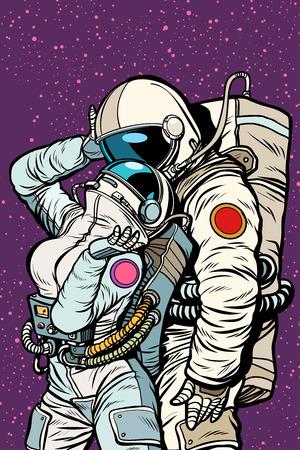 cosmic love of cosmonauts, man hugs woman. Pop art retro comic book vector cartoon vector illustration hand drawing
