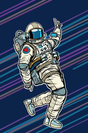 Astronaut dancing disco funny. Pop art retro comic book vector cartoon hand drawn illustration