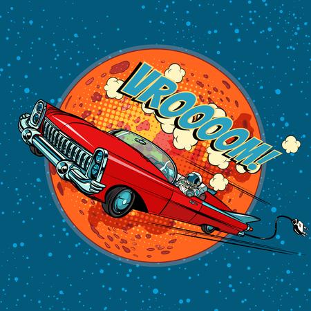 Astronaut in electric car over Mars. Pop art retro vector illustration comic cartoon hand drawn vector