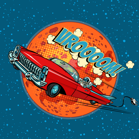 Astronaut in electric car over Mars. Pop art retro vector illustration comic cartoon hand drawn vector