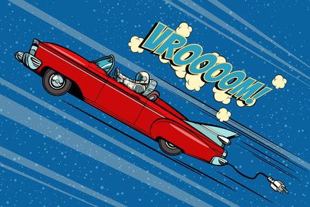 Astronauta seduto al volante di un'auto. Vettore disegnato a mano del fumetto comico della retro illustrazione di vettore di Pop art Archivio Fotografico - 95144575