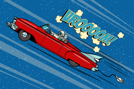 Astronaut sitting behind the wheel of a car. Pop art retro vector illustration comic cartoon hand drawn vector Illustration